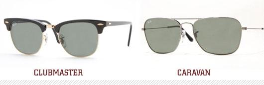 Clubmaster sunglasses and caravan sunglasses