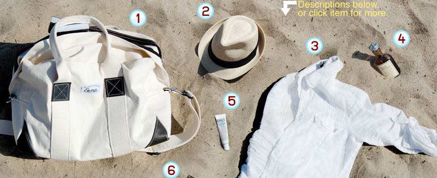 Items laying on the beach with numbers next to each