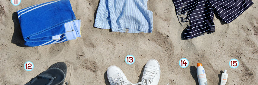 Shorts and sneakers on sand