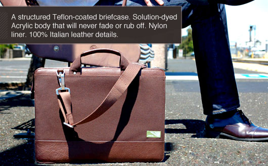 A structured teflon-coated briefcase