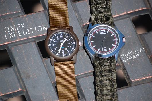 Survival strap watch next to regular watch strap