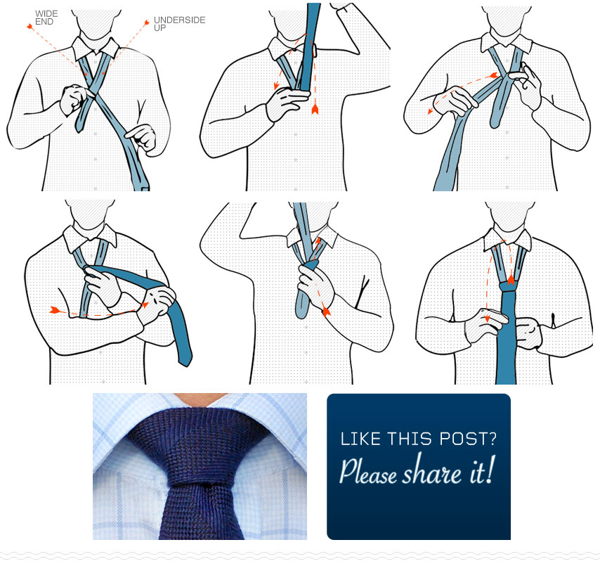 Step by step diagram of how to tie a nicky tie knot