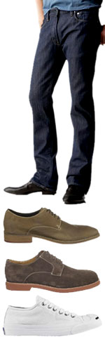 Dark jeans with 3 shoe options