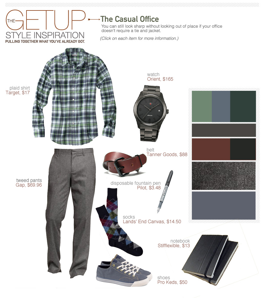 The Getup casual office outfit inspiration - plaid shirt, gray pants, sneakers collage