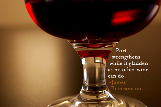 port wine glass with quote