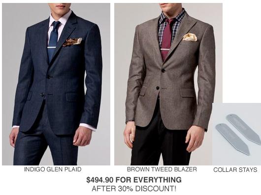 Glen plaid suit, brown tweed blazer, collar stays