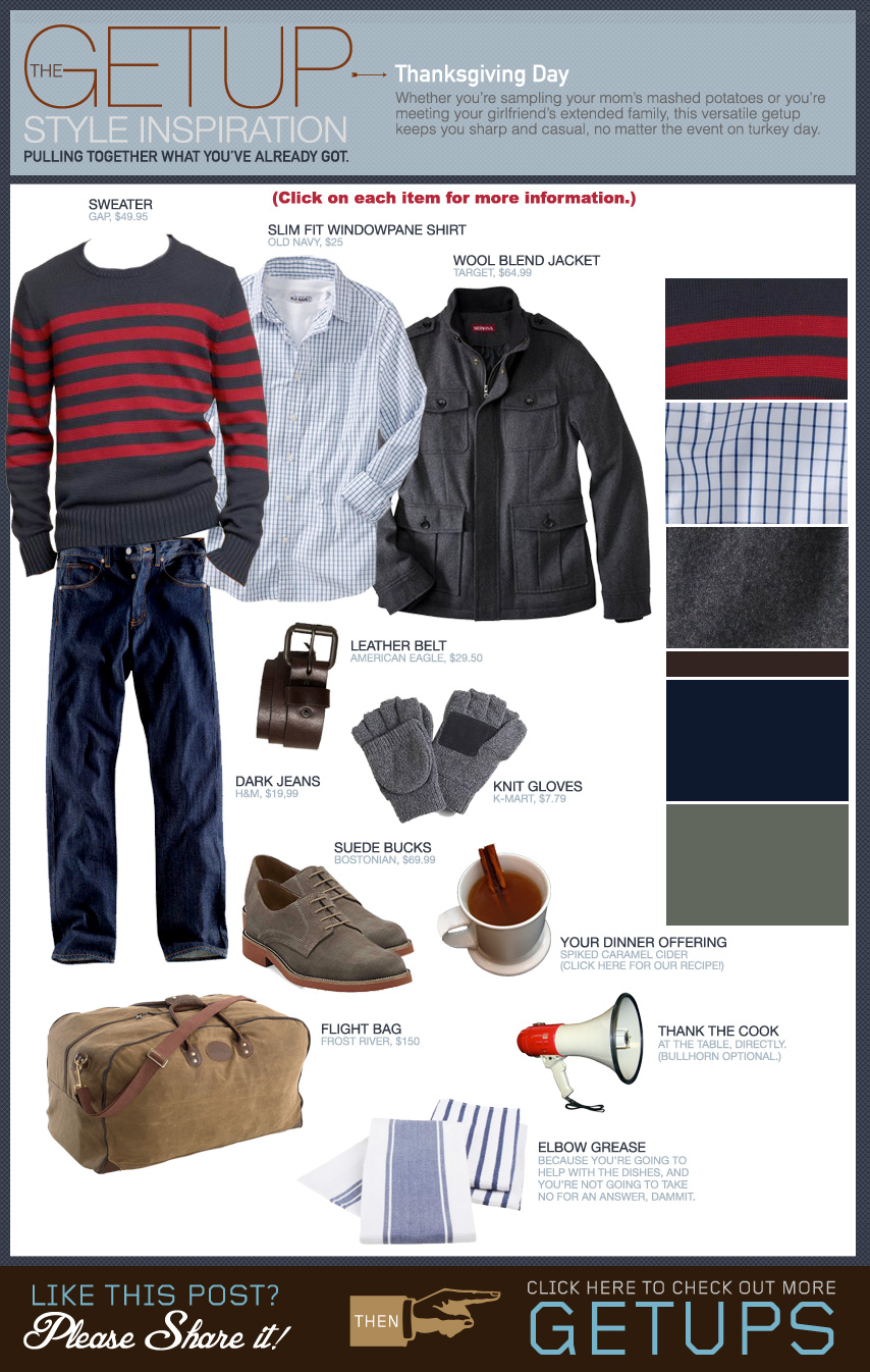 Thanksgiving Getup, gray jacket, striped sweater, oxford shirt, suede oxfords