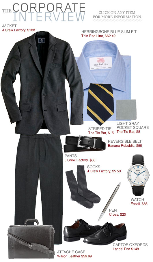 Black suit, blue shirt, striped tie The Getup outfit inspiration collage
