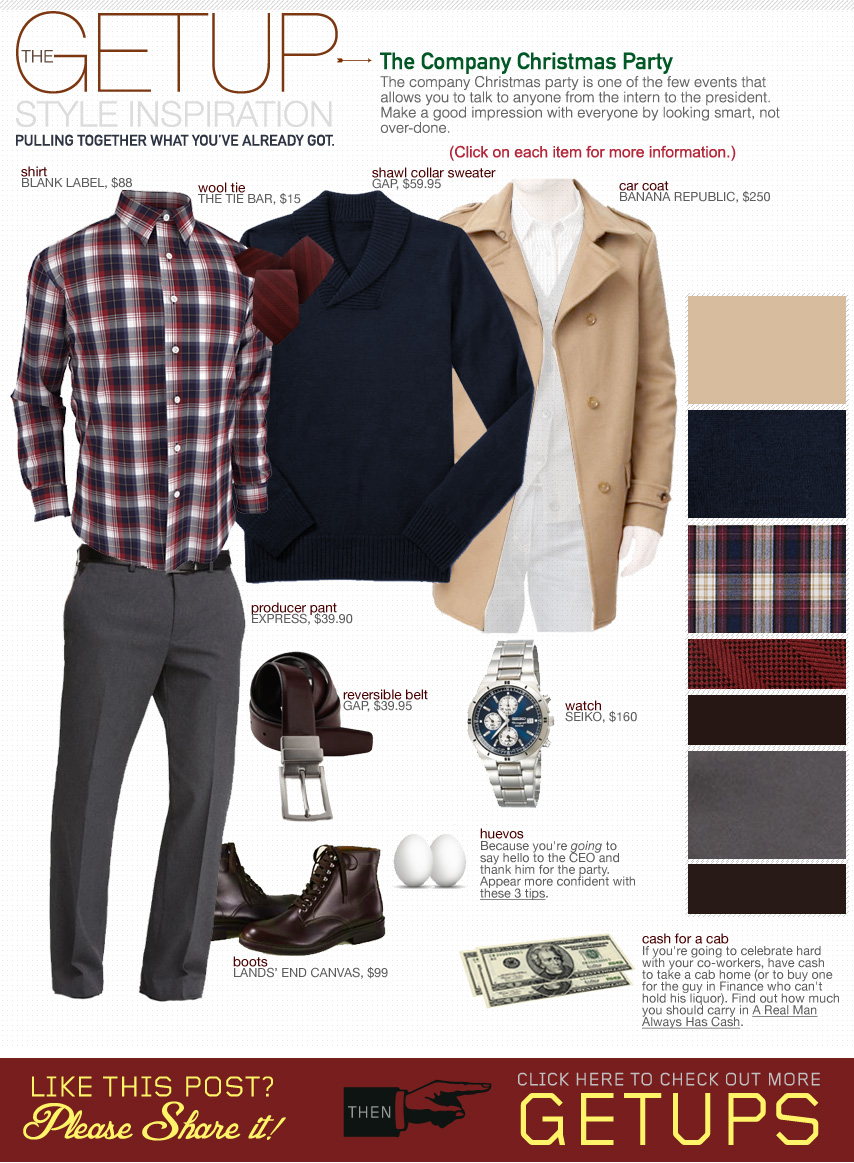 The Getup Christmas Party - topcoat, blue sweater, plaid shirt, gray pants, brown shoes