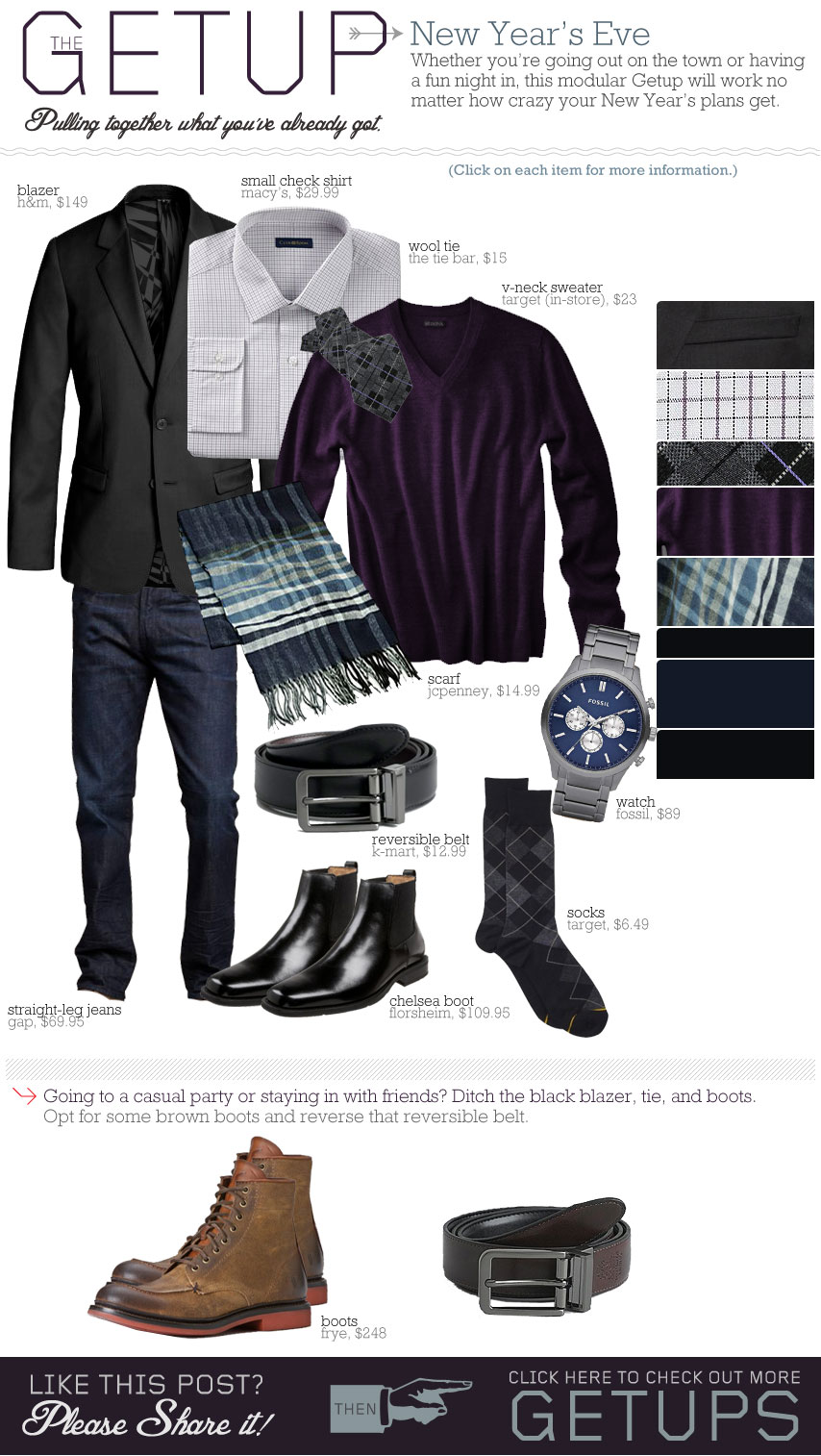 The Getup outfit inspiration - black jacket, purple shirt, white shirt, blue jeans, black boots