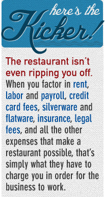 Article quote - The restaurant isn\'t even ripping you o