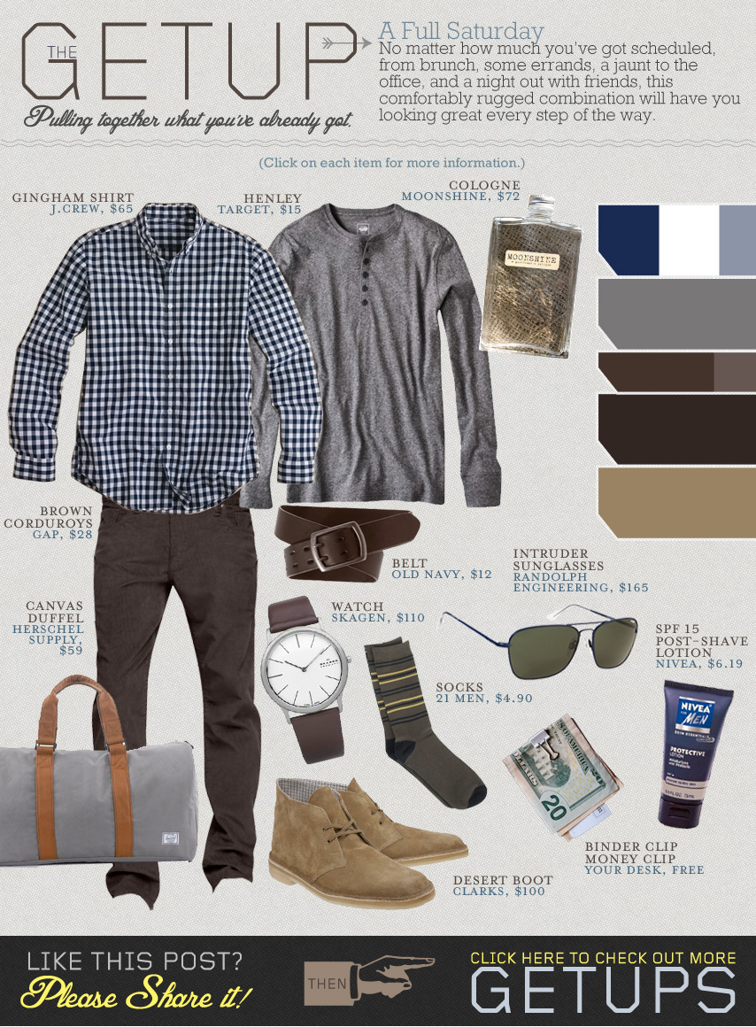 The Getup Saturday - gingham shirt, gray henley, brown pants, clarks desert boots