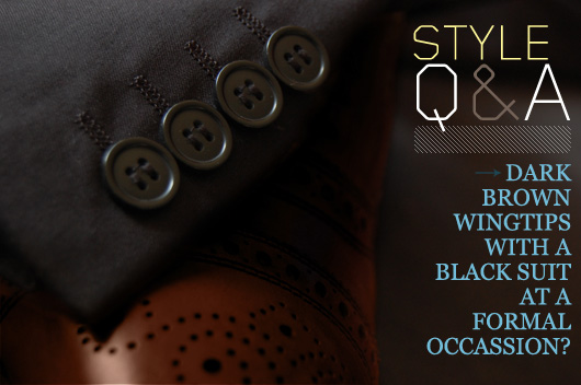 Style Q&A: Dark Brown Wingtips with a Black Suit at a Formal Occasion