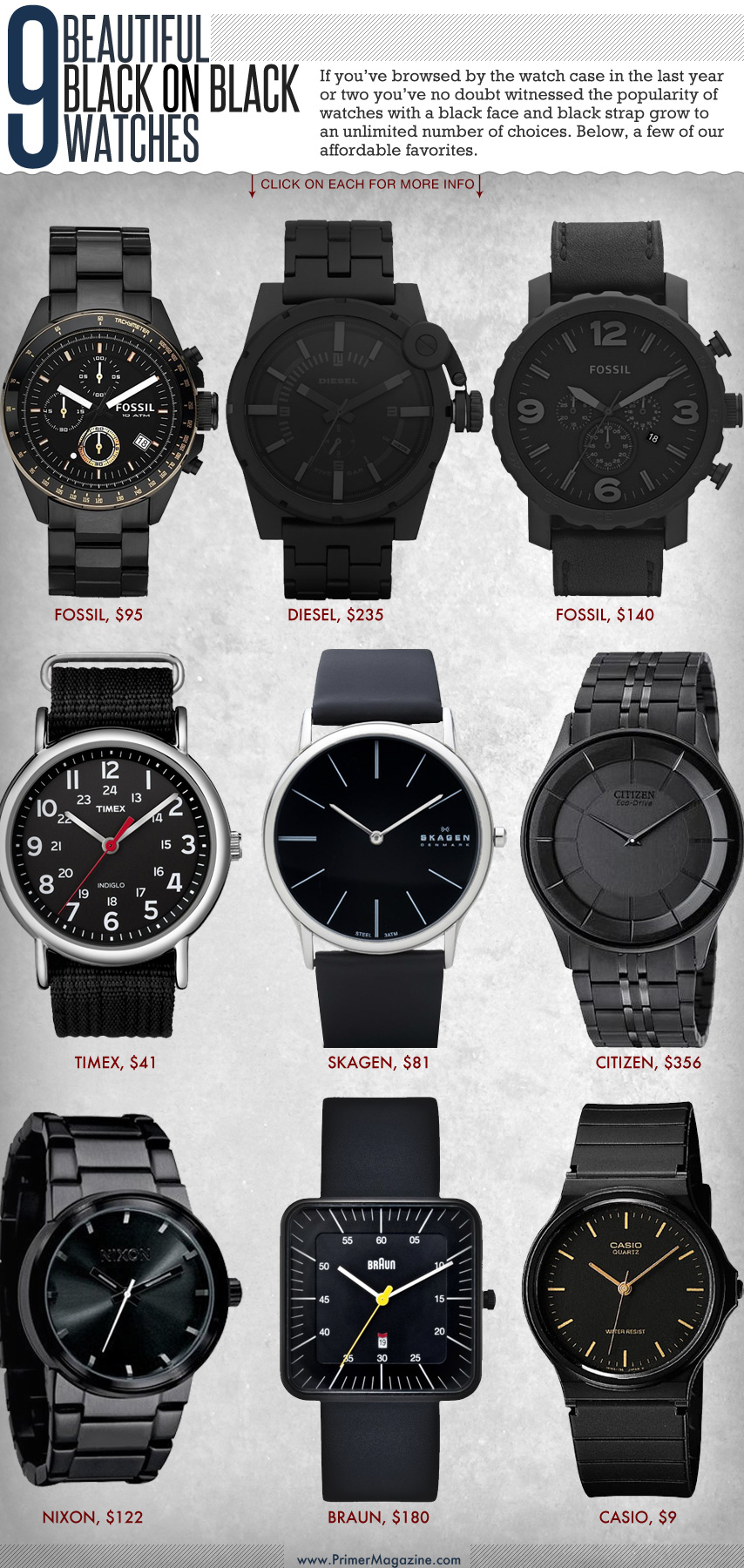 Collage of black watches
