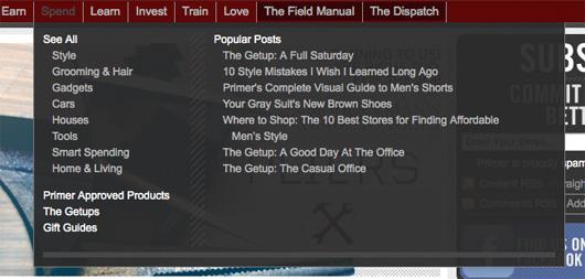 A screenshot of a dropdown menu