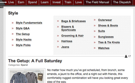 Screenshot of website tags