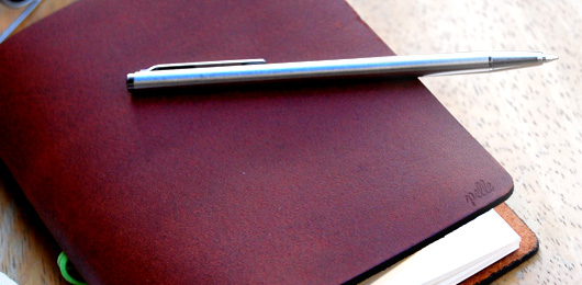 The Leather Notebook: Pelle Journal & Pilot Birdy Pen