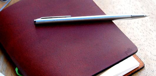 The Leather Notebook: Pelle Journal & Pilot Birdy Pen