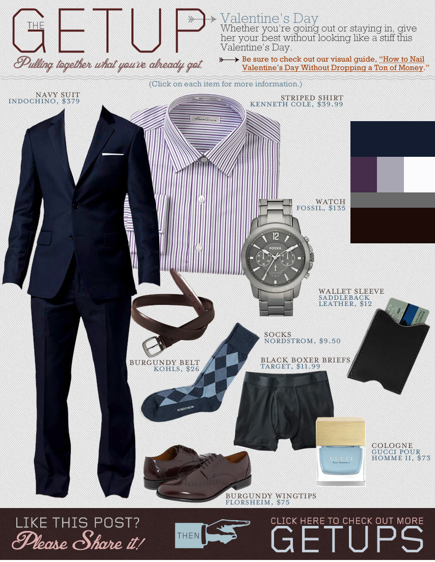 The Getup - Valentines Day - blue suit, purple dress shirt, brown dress shoes