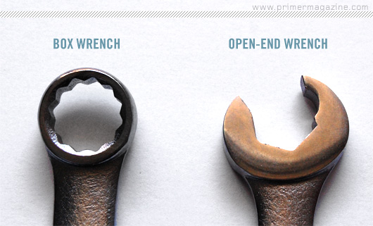 Box wrench and open-end wrench