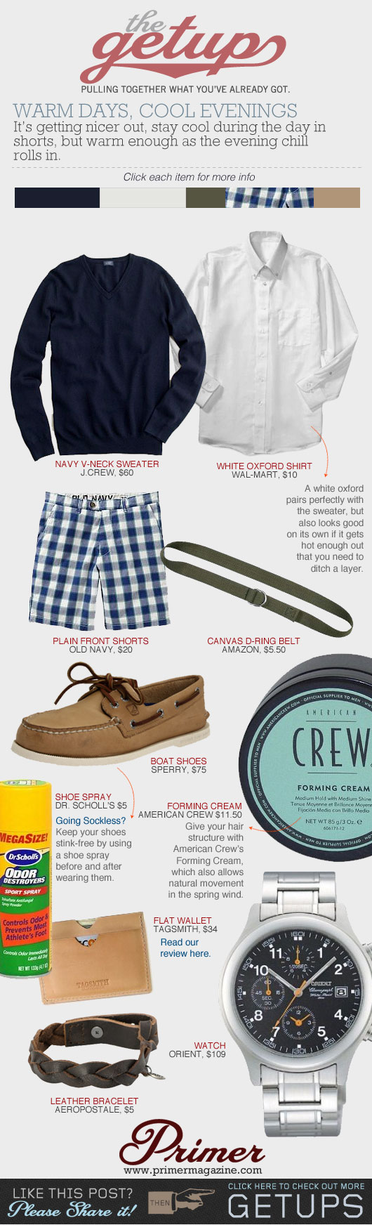 The Getup Shorts - blue sweater, white oxford, blue plaid shorts, boat shoes