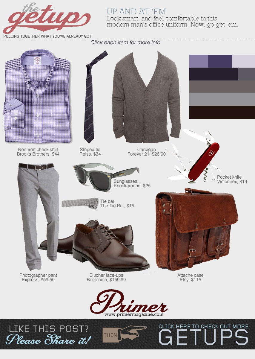 The Getup Up and at Em collage - purple shirt, brown sweater, gray pants, brown dress shoes