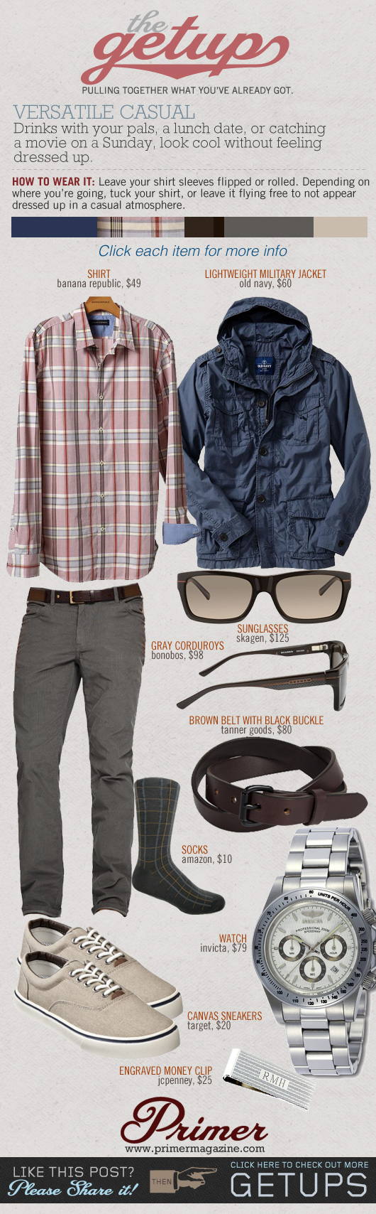 The Getup casual - blue jacket, pink plaid shirt, gray pants, tan canvas sneakers