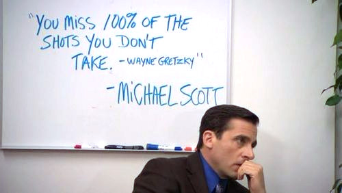 Michael Scott next to Wayne Gretzky quote on white board