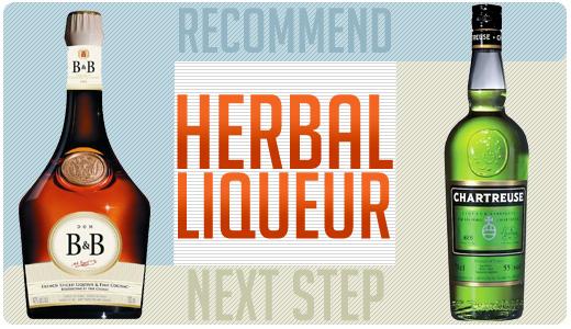 Herbal liqueur bottles