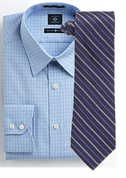 Blue shirt with purple tie