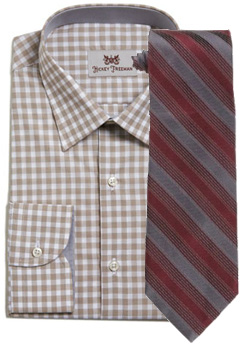 Tan check shirt with red striped tie