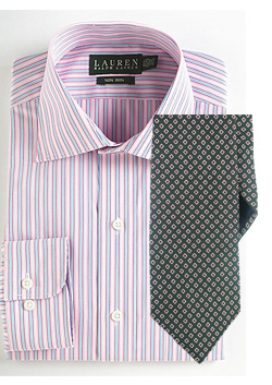 Pink stripe shirt with dotted tie