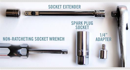 Socket extender, socket wrench, spark plug socket, adapter