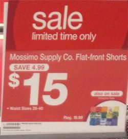 Target sale sign $15