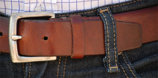 Close up of leather belt