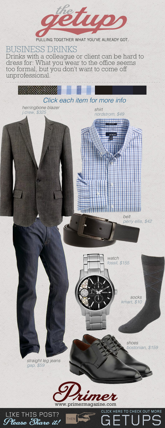 The Getup business drinks - gray sportcoat blue check shirt, blue jeans, black belt collage