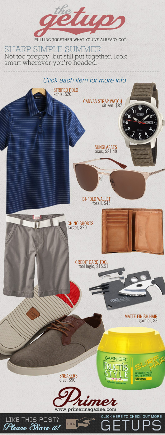 The Getup Shorts - striped polo, gray shorts, gray sneakers