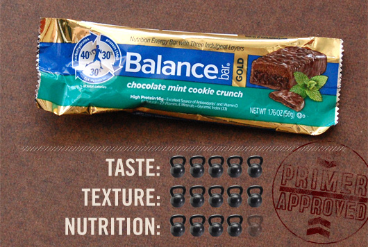Balance bar  with taste, texture, and nutrition ratings
