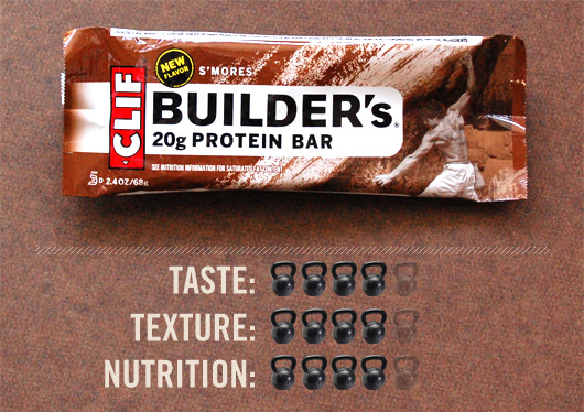 Clif builders bar with taste, texture, and nutrition ratings