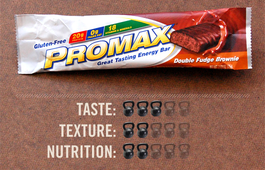 Promax bar with taste, texture, and nutrition ratings