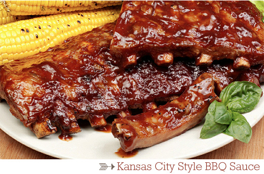 A plate of food, with Ribs and Barbecue