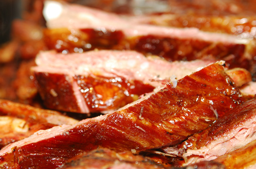 A close up of bbq ribs