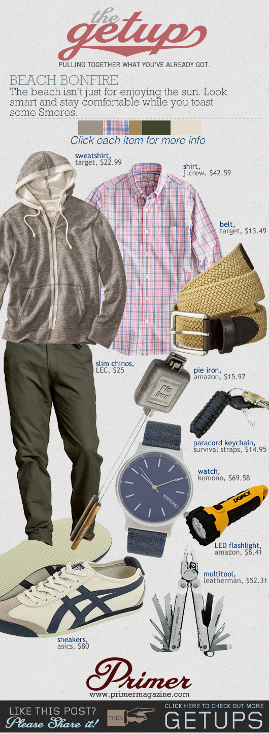The Getup Bonfire outfit inspiration - gray sweatshirt, pink plaid shirt, green pants