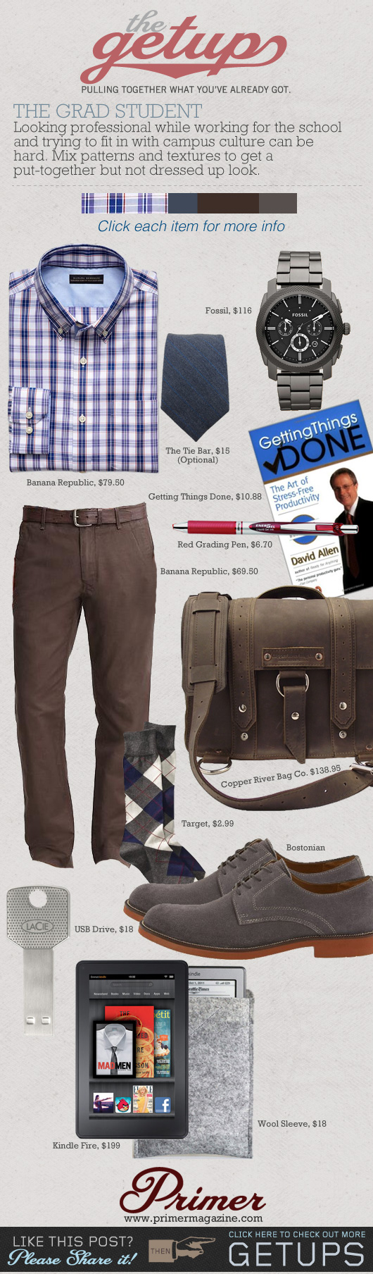 The Getup Grad Student - plaid shirt, brown pants, saddleback leather briefcase collage
