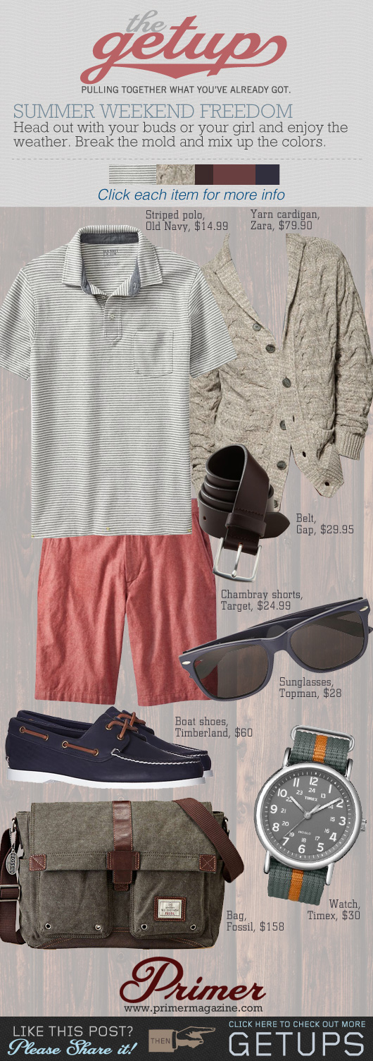 The Getup Summer Weekend - tan sweater, tshirt, red shorts, boat shoes