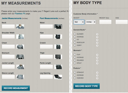 Graphical user interface of suit measurements