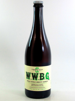 A close up of a bottle of WWBG beer