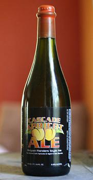A close up of a bottle cascade beer