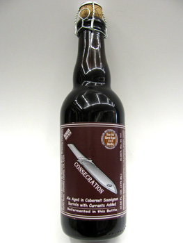 A close up of a bottle of consecration beer