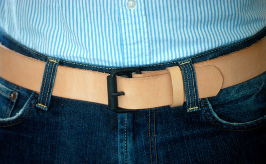 Natural belt with black buckle